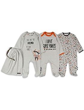 The Essential One - Baby Jungen Superhéroe Schlafanzug/Einteiler/Strampler (3-er Pack mit Beutel) - Grau - ESS219