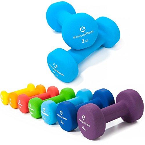 2er-Set Hanteln 0,5kg, 0,75kg, 1kg, 1,5kg, 2kg, 3kg & 4kg / rutschfeste & griffige Neoprenoberfläche »Peso« Kurzhanteln (Aerobic-Gewichte) in verschiedenen Gewichts- und Farbvarianten. Das Hantelset besteht aus 100% Eisen - Die Gewichte bzw. das Kurzhantel-Set eignen sich für Gymnastik, Fitnesstraining, Physiosport & Heimtraiing. Das Hantelpaar ist schön griffig, einfach zu reinigen & resistenz gegen Schweiß & Feuchtigkeit / 2kg, himmelblau