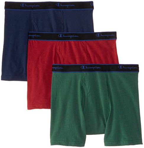 Champion Men'S 3 Pack Performance Cotton Short Leg Boxer Briefs Eden/Indigo ...