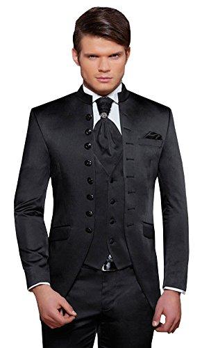 Herren Anzug - 8 teilig - Schwarz Cut Nadelstreifen Designer Hochzeitsanzug TOP ANGEBOT PC_01 (56) (Herren-designer Anzüge)