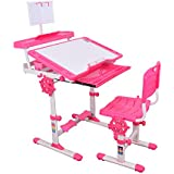 Furniture First Magellan Height Adjustable Imported Kids Study Table & Chair With Bigger Size Desk 800 * 620 Cm With Height Lock & Book Stand,Stationary Desk/Suitable For Kids 3-18 Years, Pink