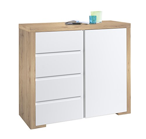 HMW Möbel Kommode Multi Sideboard mit 1 Tür und 4 Schubkästen, Holz, weiß eiche sanremo dekor, 45 x 104,4 x 92 cm