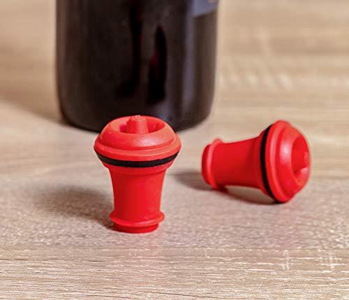 Vacu Vin 08842612 Stopfen für Weinpumpe 2-er Set, rot