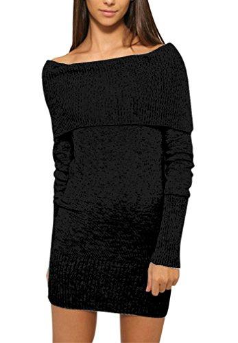 AIYUE Vestito Donna Sottile Vestitini Eleganti Maglioni Autunno Invernale Maniche Lunghe Fuori Spalla Abiti da Sera Cerimonia Cocktail Bodycon Dress