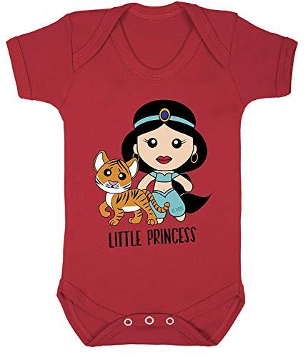Aladdin Prinzessin Jasmin Cool Aufdruck Bodys Kostüm Hypoallergen 100% Cotton - Rot, 6-12 Months (Rot Prinzessin Jasmin Kostüm)