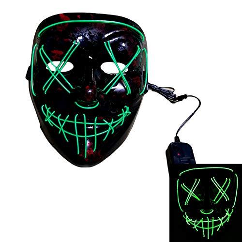 Halloween Kostüm Benutzerdefinierte - Handgefertigte benutzerdefinierte LED-Lichtmaske Urlaub Halloween-Kostüm Kaltlicht Show Atmosphäre Requisiten Horror LED Glow Mask,Green Light-OneSize