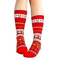 Wakerda Calcetines de algodón de Invierno de Invierno de Media Pantorrilla para Mujeres Hombres Regalo de Calcetines de Navidad Transpirable