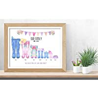 Personalised Family Wellington Boot Print Artwork Picture