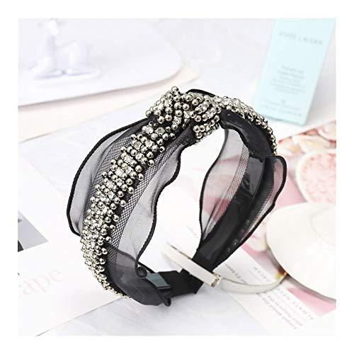 Xyydn Mode Perle Strass Jeweled Haarbänder for Frauen Mädchen Spitze Haarband Stirnband Haarschmuck Haar Haarspangen (Color : Bead Knot, Size : Size fits All)