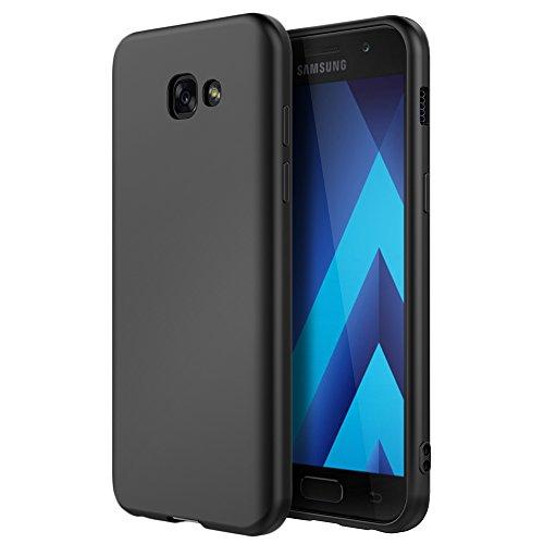 Defender Case Schwarz (EasyAcc Samsung Galaxy A3 2017 Hülle Case, Soft Flex SilikonTelefonhülle Matte Oberfläche TPU Handyhülle Schutzhülle Telefonschutz für Galaxy A3 2017 A320 4.7