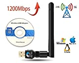 Jiubei Antena Adaptador inalambrico USB WiFi AC 1200 mbps Dual Band 5.8GHz / 2.4GHz Compatible Windows XP/Vista/7/8/10, Linux2.6X y Mac OS X Incluye CD con Drivers.