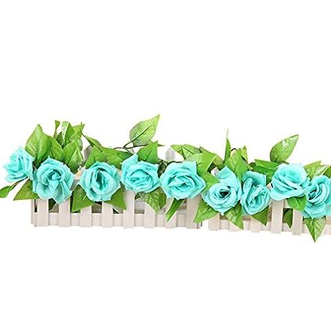 Zycshang romantique Bleu Rose en Soie artificielle Fleurs Lierre Guirlande à suspendre Décoration de mariage