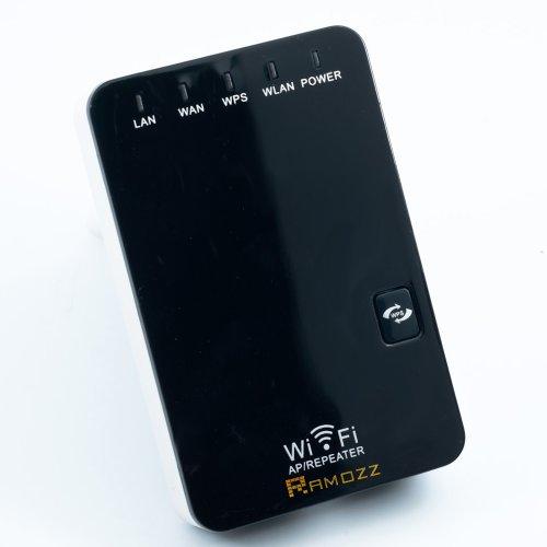 Ramozz @ mini Router , WiFi Repeater Access Point bis zu 300M, 150, 54 bit Wlan Wireless Verstärker , Lan und WAN Anschluss , WPS Taste, 802.11 b,g,n