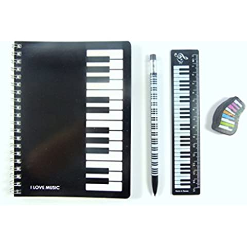 Tema notebook tastiera musicale portamine, Eraser Set