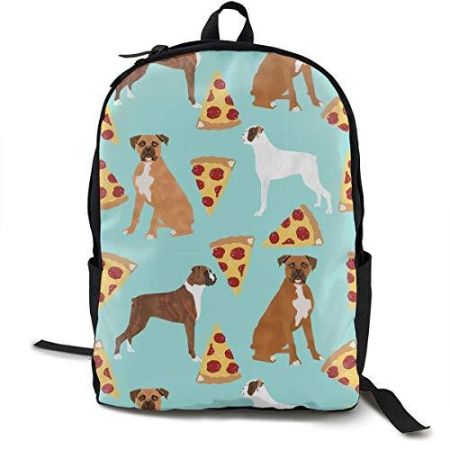 Hipiyoled Boxer Dog Pizza Rucksäcke für Frauen Männer, Computer Laptop Rucksack, Casual Book Bag Reisen Camping Daypack Era-stitch