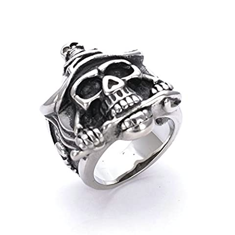 Men's 316L Stainless Steel Pirate Captain Skull Ring Silver Size R 1/2