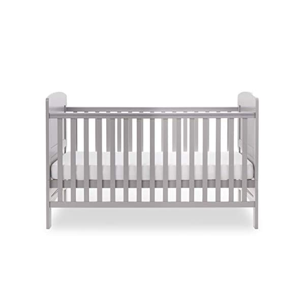 Obaby Grace Cot Bed, Warm Grey Obaby Adjustable 3 position mattress height Bed ends split to transform into toddler bed Protective teething rails along both side rails 4