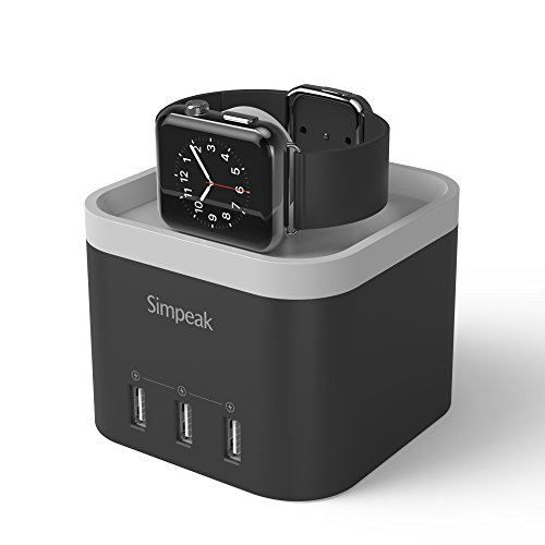 Supporto per Apple Watch Series 1 2015 & Series 2 2016,Simpeak Stand Apple Watch,Caricatore Apple Watch con 3 Porte USB Ricarica Charging Dock Comodo Angolo di Visione di Ricarica Holder Stand per iPhone 6, iPhone 6 plus, iPhone 5 5S 4S