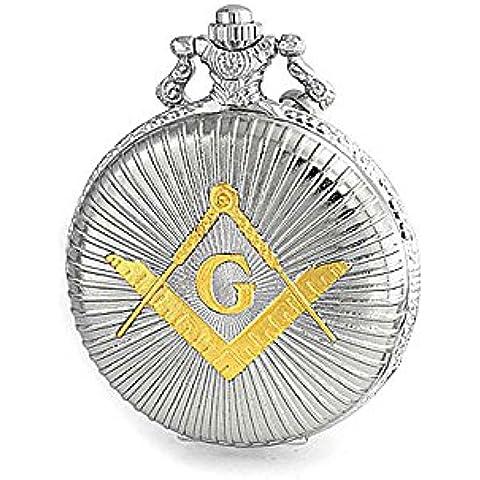 Bling Jewelry placcato oro massone simbolo massonico di quarzo Mens orologio da tasca
