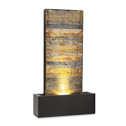 blumfeldt Raincastle Gartenbrunnen • stetiger Wasserumlauf mit Loopflow Concept • 12 LEDs • Pumpe mit 8 Watt • Schutzart: IPX8 • 10 kg • verzinktes Metall mit Ziegelsteinoptik