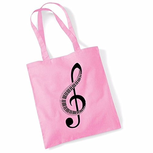 Printed Tote Bag Slogan Women's Gift Idea 100% Cotton Piano Music Note Funny Beach Accessories Canvas Shoulder Bag - Pink