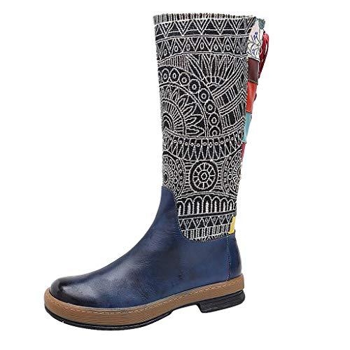 ➤Refill➤ Hohe Stiefel Damen, 2021 Winter Schuhe rutschfeste Schneestiefel Bunt Druck Chic Stiefel Bequeme Outdoor Knee StiefelLeder Bohemian Gestickt Langschaftstiefel Schuhe