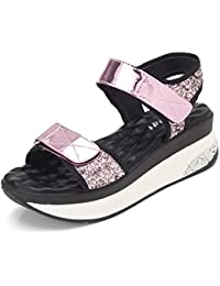 Sandalias de cuña de lentejuelas/Sandalias de plataforma con suela gruesa/Sandalias de Velcro de entonado de colores...