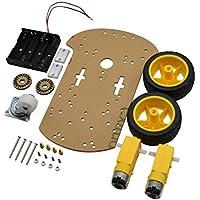 OUNONA Caja de la batería del codificador de la velocidad del kit del chasis del coche del robot elegante del motor 2WD para Arduino W1Z3