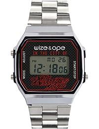Wize & Ope 1970-NY - Reloj digital de cuarzo unisex, correa de otros materiales color plateado