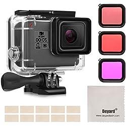 Deyard Boîtier étanche Kit pour Accessoires GoPro Hero 7 Black/HD (2018) / Hero6 / Hero5 avec boîtier Boîtier étanche + Filtre + Rouge Anti-buée insérer Caméra d'action