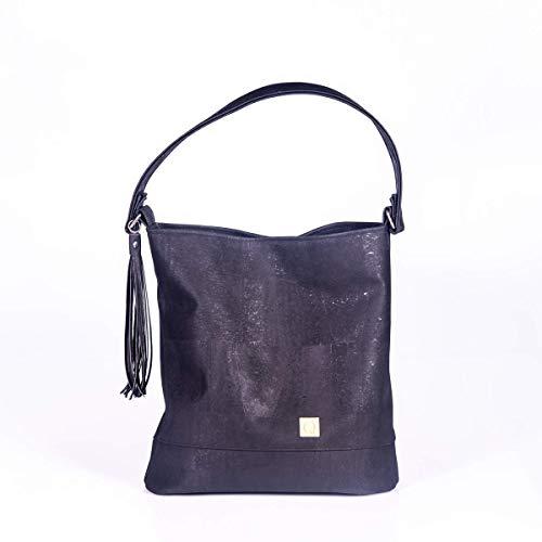 Hobo Bag Schwarz Schultertasche Damentasche Handtasche Beuteltasche Korkledertasche Elegant Praktisch Stylisch Handmade - Chic Hobo