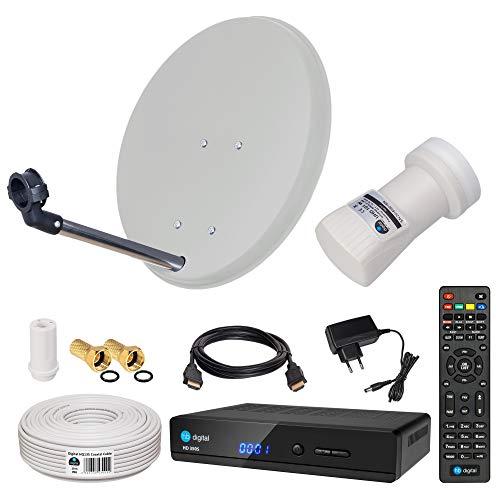 HB-DIGITAL Sat-Komplett-Set: Mini Sat Anlage 40cm Schüssel Hellgrau + UHD Single LNB 0,1 dB + 10m Kabel + HD 350S Receiver ( für HDTV geeignet )