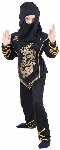 Generique Ninja-Kostüm Schwarz und Gold für Jungen 140/152 (10-12 Jahre) (Kinder Camouflage Ninja Kostüm)