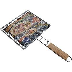 Wdj Grillkorb Fischbräter, Grill Fischhalter Gemüsekorb Burger Grillwender, mit Abziehbarem Holzgriff, aus 430 Edelstahl