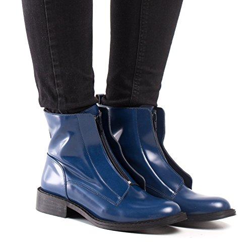 NAE Zipme Blau - Damen Vegan Stiefel - 6