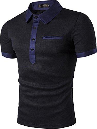 Sportides Herren Poloshirt Gr. Small, schwarz JZA051 Black L (Check-polo-t-shirt)