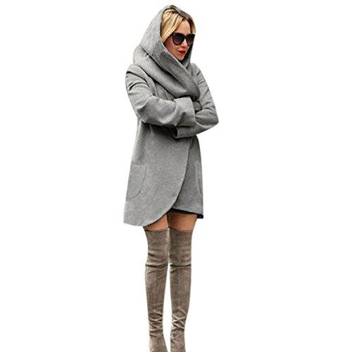 Vovotrade ❀❀Garder la mode chaude Femmes Slim manteau long manteau Windbreaker Parka Outwear cardigan manteau Gris foncé