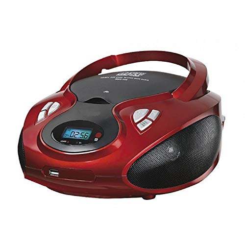 CD-Player | Tragbares Stereo Radio | Kinder Radio | Stereo Radio | Stereoanlage | Bluetooth | USB | CD / MP3 Player | Kopfhöreranschluss | AUX IN | LCD-Display | (Rot mit Bluetooth