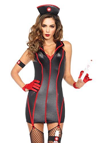 Leg Avenue 85402 - Herz Stoppin 'RN Damen kostüm, Größe Small (EUR 36) (Schuhe Strumpfband Schwarz-erwachsene)