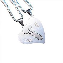 Idea Regalo - haodou a forma di cuore lucchetto chiave coppia collana a forma di cuore portachiavi per lui e lei Coppia Catena