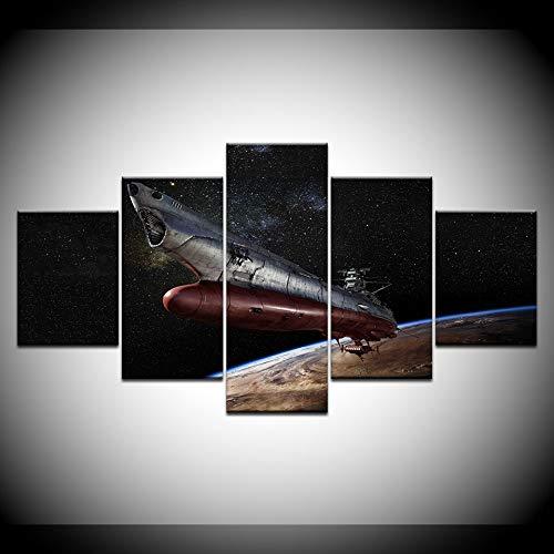 VVGGLL 5 Leinwanddrucke Leinwand Malerei Space Battleship Yamato Wandkunst Malerei Modulare Tapeten Poster Drucken Wohnkultur Drucke Auf Leinwand