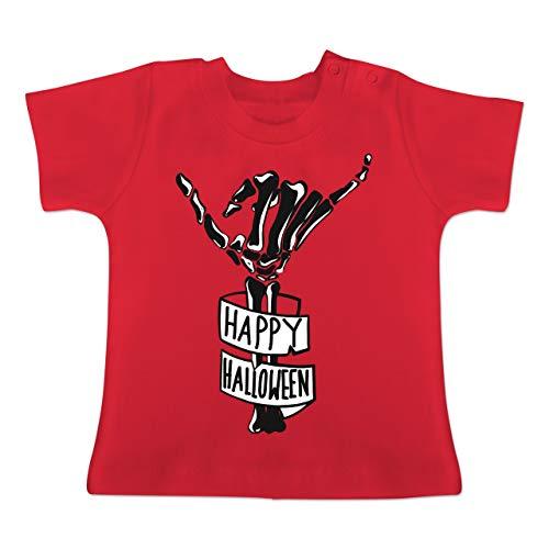 Anlässe Baby - Happy Halloween Skelett Hand - 12-18 Monate - Rot - BZ02 - Baby T-Shirt Kurzarm
