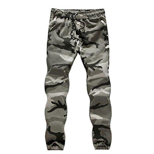 Homme Pantalon Slim Fit Cargo Chino Sport Travail Ete DéChiré Casual Jogging Camo Sportwear Baggy Sarouel Pantalons De Jogging (XXXXL, Gris)