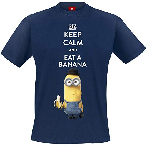 (MINIONS Keep Calm and Eat A Banana T-Shirt Navy 3XL)