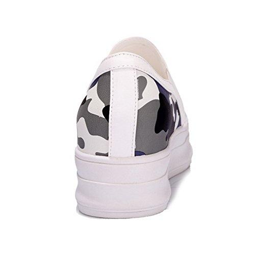 AllhqFashion Femme à Talon Correct Couleurs Mélangées Tire Rond Chaussures Légeres Noir