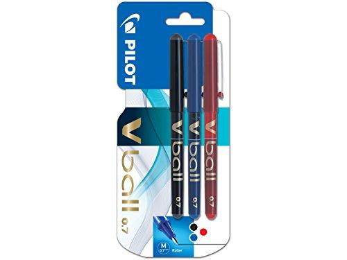 Pilot V-ball rt 07 Kugelschreiber-Set, mittelstarke Spitze, Flüssigtinte, 3er-Set Rojo-azul-negro - 7-ball-set