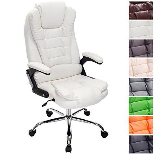Clp sedia ufficio thor in similpelle - poltrona studio carico max 150 kg i sedia pc ergonomica imbottita e altezza regolabile i sedia da scrivania con ruote antiattrito e alto schienale bianco