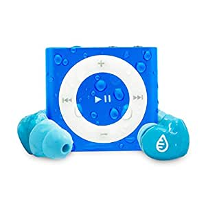 Waterfi 100% Waterproofed iPod Swim Kit With Short Cord Waterproof Headphones Included - No Case Needed (Blue)