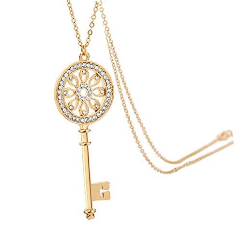 Chaomingzhen Charm Vergoldete Blume Schlüssel Anhänger Lange Halskette für Damen Modeschmuck für Teen Girl mit Kette 30.4