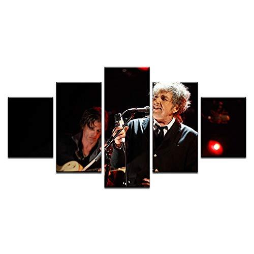 Fbhfbh Moderne Dekoration Kunst Auf Leinwand Für Wohnzimmer 5 Stück HD Druck Pop Sänger Bob Dylan Poster Große Wand Leinwand-4x6/8/10inch,With frame - Wand-poster-frames